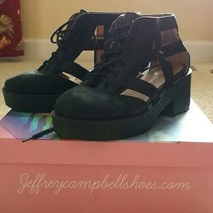 Jeffrey Campbell Thomb Black Distressed Ankle Boot