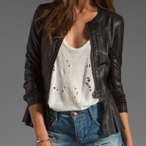 Muubaa Jackets & Blazers - Peplum leather jacket w/ zippers