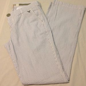 Grane Pants - Size 9 gray/white seersucker pants by Grane Jeans