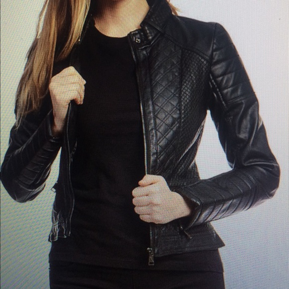 Therapy Jackets Coats Black Quilted Panel Faux Leather Moto