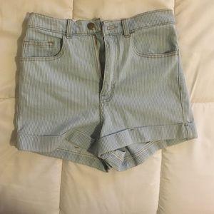 Striped denim American apparel shorts