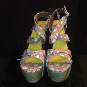 C. Label Shoes - Platform floral wedges