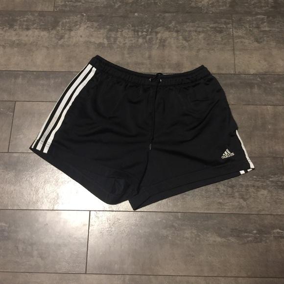 78% off Adidas Pants - Adidas black shorts w/ white stripes size ...