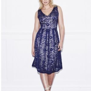 Lovedrobe Dresses & Skirts - Taupe and navy satin and lace dress