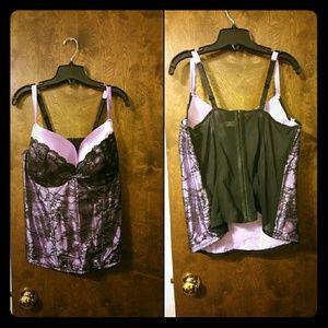 Cacique  Lilac w/Black Lace Bustier 22/24