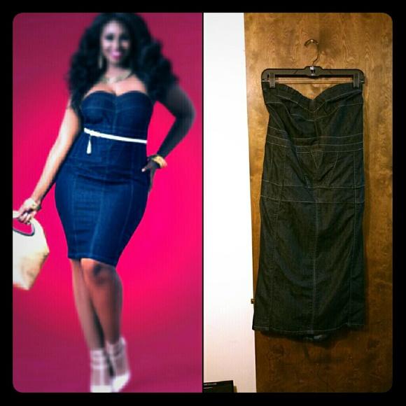 Ashley Stewart Dresses & Skirts - Ashley Stewart Denim Seamed Bustier Dress 22