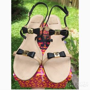 Tory Burch Shoes - Tory Burch Kailey Bow Heels Black & Nude