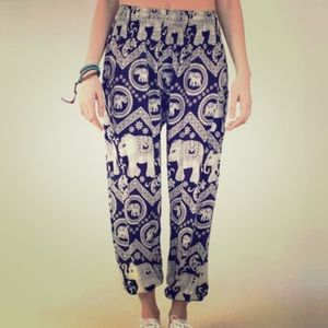 Elephant Pants Pants - Navy elephant harem pants
