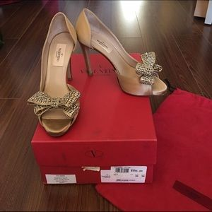 Valentino Shoes - Authentic Valentino Satin Gold d'Orsay Bow Pump
