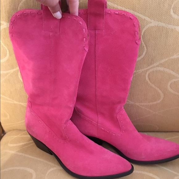 Gianni Bini Hot Pink Suede Cowboy Boots
