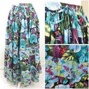 tropical print flowy skirt