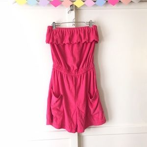 Vintage Pants - Vintage Hot Pink Terrycloth Romper with Pockets!