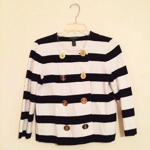 Lauren Ralph Lauren Jackets & Blazers - Ralph Lauren Navy Stripe Button Down