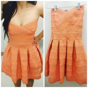 Bandage Orange Strapless Dress XS