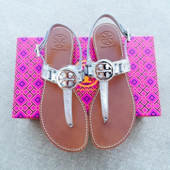 773597c97fe  Tory Burch  Silver Cassia Flat Sandals