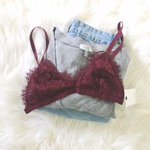 Burgundy Lace Triangle Bra