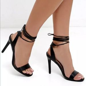 Black strappy lace up open toe heels