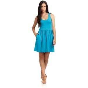 Blue Zip back sleeveless casual Skater Dress