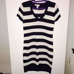 Black and Off White Knitted Dress