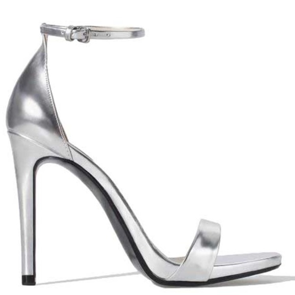 Zara Shoes - Zara silver strappy heeled sandals NWB