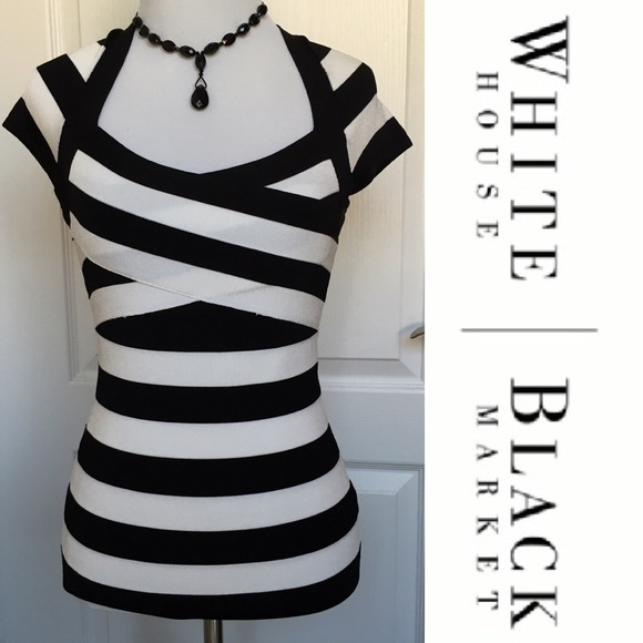 4c312585de White House Black Market Striped Bandage Top XS. M 577f9f6c4e8d1775d100072b