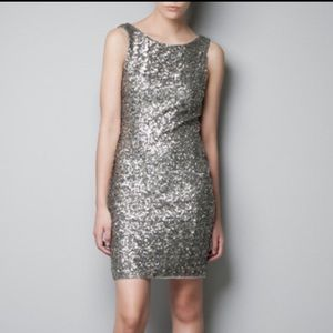  ZARA Silver & Gold Sequin DressHOST PICK