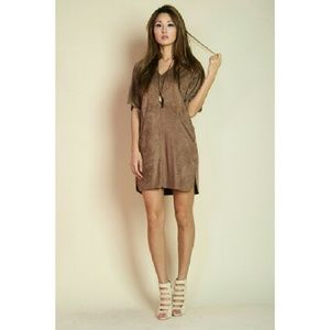 Faux Suede Brown Dress