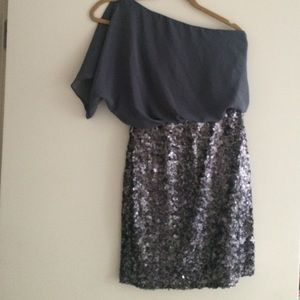 Aidan Mattox Dresses & Skirts - Grey sequin off the shoulder dress