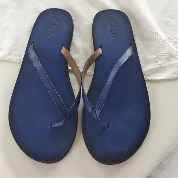 854a48341ea Clarks Shoes - Clarks Navy Blue flip flops