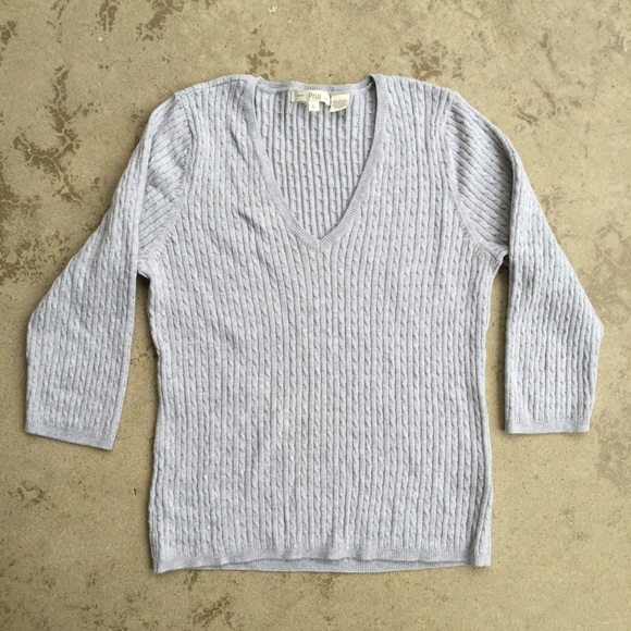 Sweaters - Grey Cable Knit 3/4 Sleeve Sweater