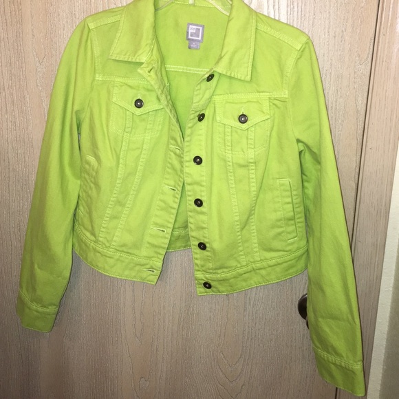 70% off jcpenney Jackets & Blazers - JCP Lime Green Denim Jacket ...