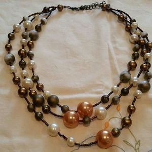 3 strand beaded Necklace multi tone browns