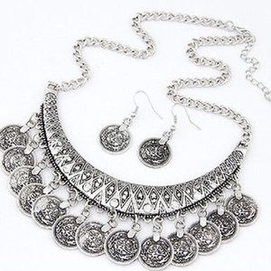 SALENEW Silver Coin Bib Necklace and Earrings