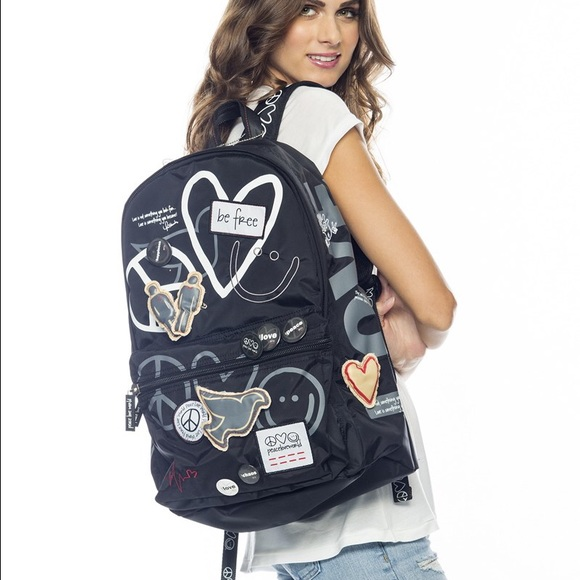 Peace Love World Black Backpack W Laptop Sleeve