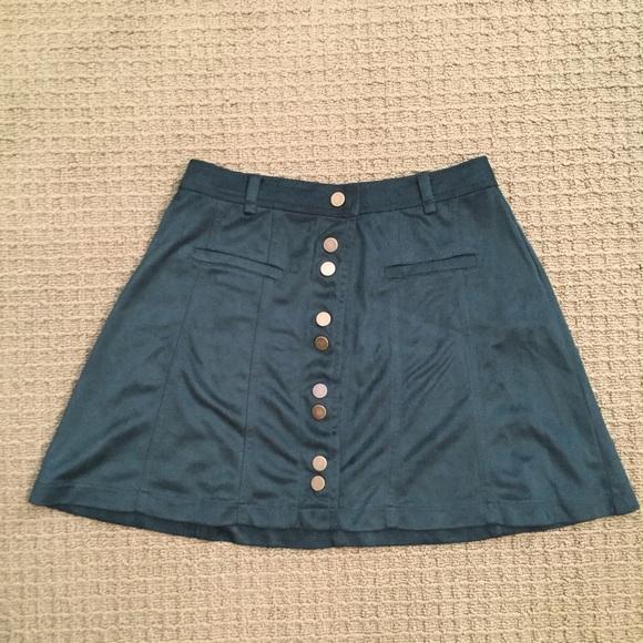 nwot zara forest green suede skirt