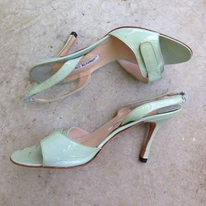 Manolo Blahnik Shoes - Manolo Blahnik mint green patent leather sandals