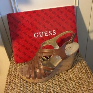 Guess Shoes - Leather Cork Wedge Sandals