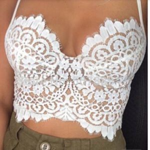 Other - White lace lined bralette crop top lingerie NWOT