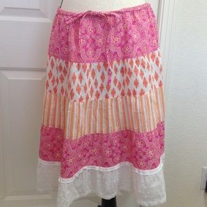 J. Crew Dresses & Skirts - J. Crew Skirt Boho Patchwork Pink Orange Women's