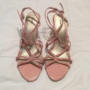 FIONI Clothing Shoes - Light pink strappy high heels