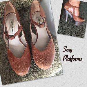 Embroidered Platform Heels