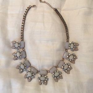 Rhinestone gold statement necklace!! White stones