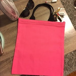 Pink & black canvas magazine tote