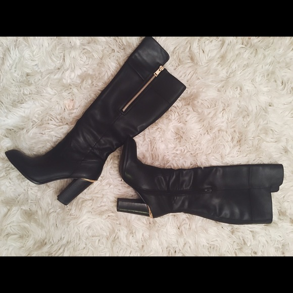 Knee Black Leather Boot Wide Calf