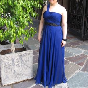 Rickie Freeman Teri Jon: royal blue 1shoulder gown