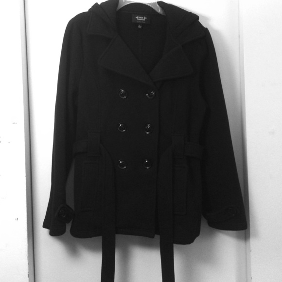MM Essentials by Marc Mattis - Black Fleece Pea Coat from Kara's ...
