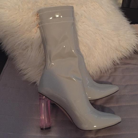 Perspex heels in grey with pink heel