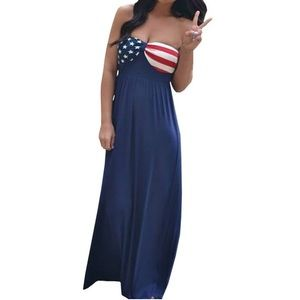 American flag strapless maxi dress