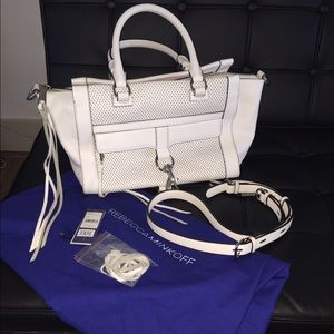 Rebecca Minkoff white leather Bowery satchel bag