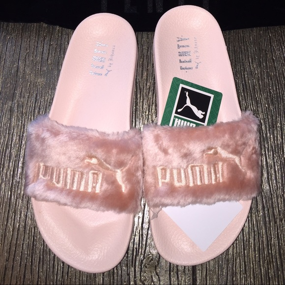 low priced bde7c 2d54f Puma Rihanna Leadcat Fenty Pink Fur Slide Sandal NWT
